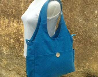 blue canvas diaper bag, womens hand bag, canvas messenger bag, tote bag for women