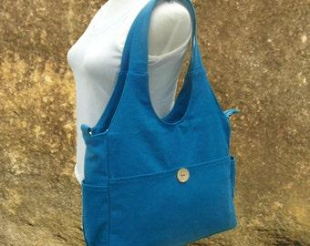 blue canvas diaper bag, womens hand bag, canvas messenger bag, tote bag for women