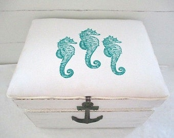 Large Industrial Vintage Crate Repurposed, White, Teal Seahorse Fabric, Anchor, Rope