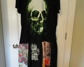 Reserve for Julia Tattoo Goth T Shirt Dress Tattered Mosaic Sz L - XL