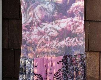 Biker Angel Wings Gypsy Hippy Boho T Shirt Dress Tattered Mosaic Sz S