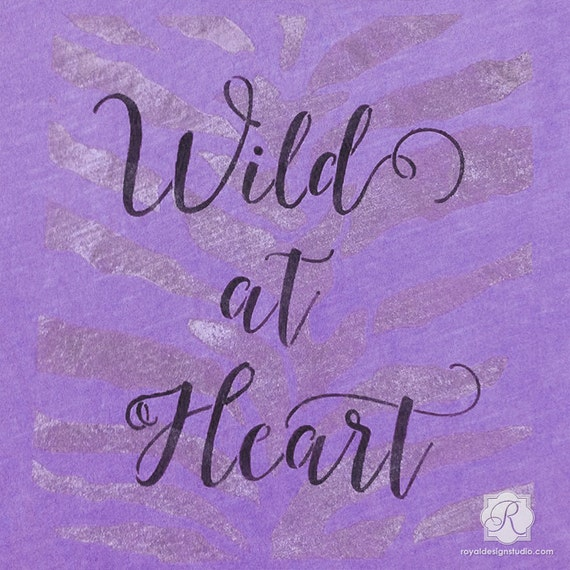 Wild at heart lettering stencil diy crafts painted with for Quote stencils for crafts