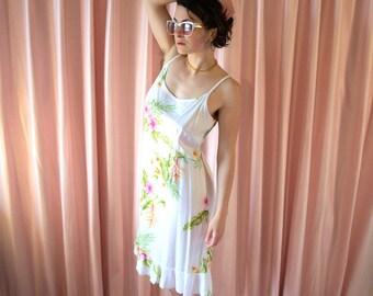 Hawaiian Ruffled Tank Dress, Pink Hibiscus
