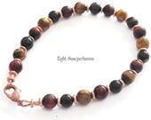 Handmade 7.5 in.Tiger Eye and Copper Bracelet BR1662