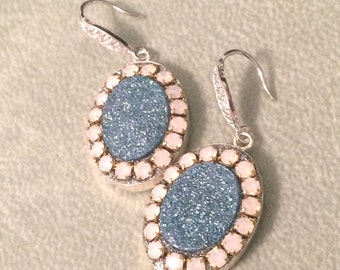Blue Aura druzy and pink opal crystal sterling silver earrings