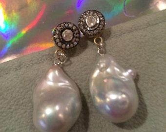 Polki rose cut diamond and baroque pearl earrings