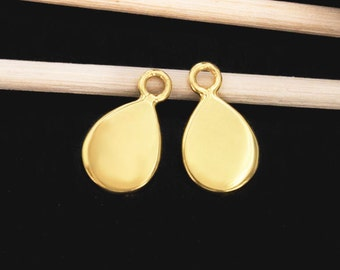 2 of 925 Sterling Silver 24K Gold  Vermeil Style Tear Drop Charms 7.5x10 mm. , Polish Finished  :vm0753