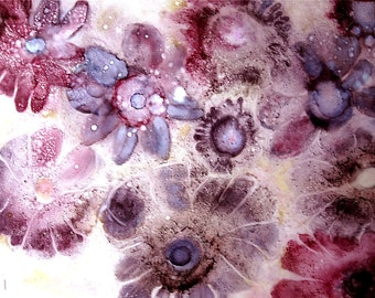 Alcohol Ink Flower Print, Abstract Wall Art, Expressionist Painting, Floral Giclee Print, Purple Wall Decor, Abstract Expressionism,