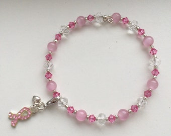 Pink crystal and Cats Eye bracelet strung with chain or memory wire.