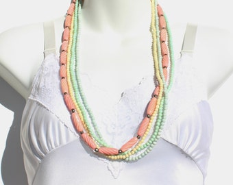 Vintage Multi Four Strand Pastel Yellow Mint Green Blue Coral Peach Pink Tubular Carved Style Shell Organic Beaded Opera Length Necklace