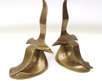 Vintage Brass Bird Bookends Brass Seagulls Nautical Birds in Flight Coastal Beach Decor