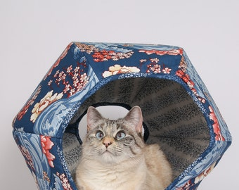 Cat Ball cat bed Art Nouveau Navy Floral Wave a Cat Cave Bed in Cotton Fabric