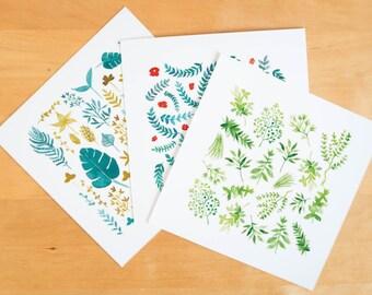 Set of 3 botanical cards