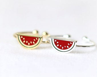 N002 Watermelon  Ring / fruit ring, choose your color, gold, silver