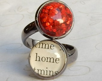 Ruby Slippers Ring, Ruby Slipper Jewelry, No Place Like Home, Wizard of Oz Ring, Wizard of Oz Jewelry, Adjustable Ring