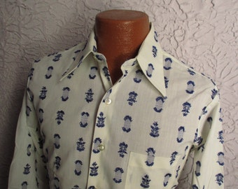 70's Vintage Men's Mod Embroidered Shirt deadstock med 15/32