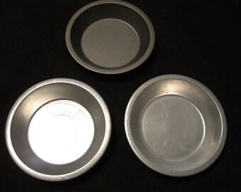 3 Metal Aluminum Tart Tins, Small Pie Pans, 2 Mirro and 1 other, Baking, Kitchen Utensil, Baking Pan