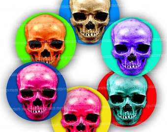 Halloween Skull Circles 2 inch Clipart Pop Art Warhol for Cupcake Cake Toppers Magnets Buttons Pill Boxes Party Supplies Mod Pop Art 787