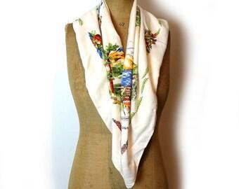 ON SALE Vintage New Zealand souvenir scarf, retro 1960s head scarf