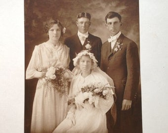 Early 1900s Wedding Photograph Large Sepia Toned Wedding Party Portrait