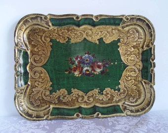 Vintage Small Florentine Wood TRAY Made in Italy ~ Italian Vanity Tray ~ So Shabby Chic in Decor!