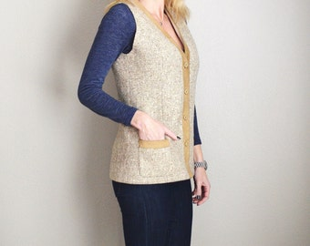 Vintage 70s Tan Tweed and Suede Long Vest // womens small