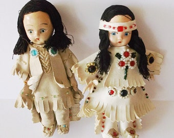 Vintage Dolls, Native American, Collectible Doll, Composition Doll, Small Doll