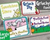 Dr. Seuss Food Labels - Large Set of 35 - Dr Seuss Party, Dr Seuss Baby Shower, or Dr Seuss Birthday, Dr Seuss Printable, Dr Seuss Me
