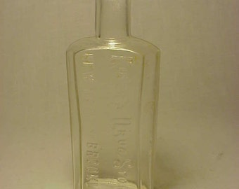 c1890s Riker's Drug Stores New York and Brooklyn , Cork Top Blown Glass Druggist Medicine Bottle