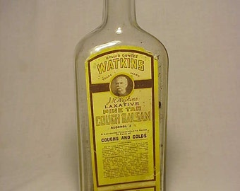 c1920s Watkin's Laxative Pine Tar Cough Balsam The J. R. Watkins Medical Co. Winona, Minn., Cork Top Medicine Bottle with the Paper Label