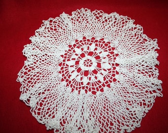 Vintage Hand Crocheted Doily- Ruffled- 12 inches