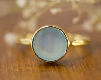 SALE - Aqua Blue Chalcedony Ring Gold - Solitaire Ring - Aqua Stone Ring - Stacking Ring - Gold Ring - Round Ring
