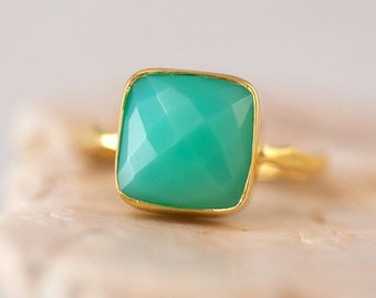 SALE - Chrysoprase Ring - Sea foam Green Ring - Gemstone Ring - Stacking Ring - Gold Plated - Cushion Cut Ring