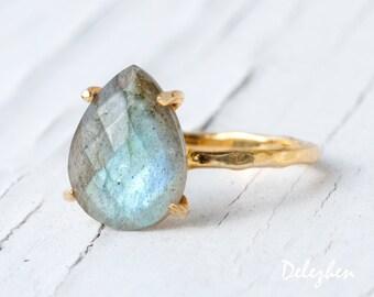 Labradorite Ring Gold, Solitaire Ring, Gemstone Ring, Stacking Ring, Gold Ring, Tear Drop Ring, Prong Set Ring, Unique Ring, Boho Ring