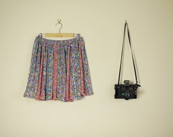 Vintage 70s Floral Flippy Pleated Mini Skirt High Waist Panel Festival Hippy C
