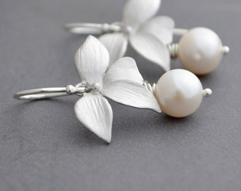 Wild Orchid Silver Earrings, White Freshwater Pearls, Argentium Sterling Silver Hoops, June Birthstone, Gift Under 30