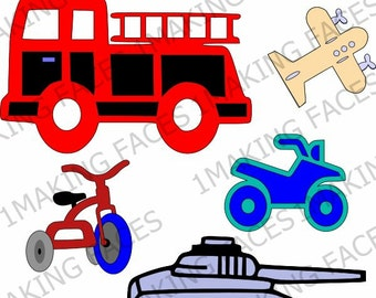 Tricycle, Fire Truck, 4-Wheeler, Tank, Airplane, SVG & Design Space Files