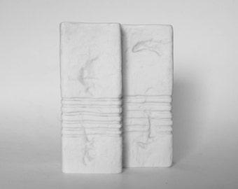 German White  Double Square Bisque Vase - Gerold Porzellan