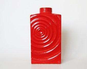 Mid Centur Large Vibrant Red Vase Zyklon - Carl Zalloni for Steuler 1960s