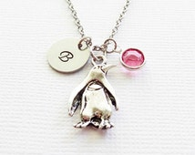Penguin Pewter Necklace Winter Arctic Bird Aquarium  Animal Jewelry Swarovski Birthstone Silver Initial Personalized Monogram Hand Stamped