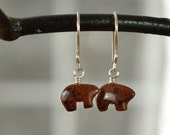Mahogany Bear Earrings, Brown Bear Earrings, Bear Jewelry, Small Bear Earrings