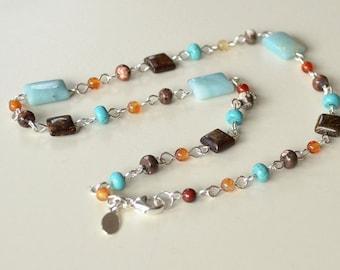 Blue Brown Gemstone Necklace, Amazonite Necklace, Bronzite Necklace, Sterling Silver Stone Necklace