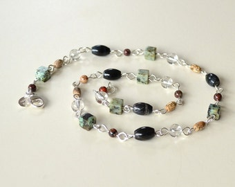 Natural Stone Necklace, Tribal Necklace, Gemstone Necklace, African Turquoise, Blue Tiger Eye