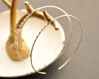 """Large Silver Hoop Earrings, Twisted Earrings, Silver Threader, Silver Wire Jewelry, Modern Jewelry, 2"""""""