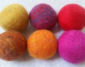 Set of 6  Autumn Brights Wool Dryer Balls, Free Shipping in USA