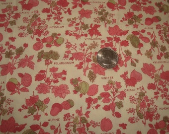 "Botanical by ""The Villager"" Fashions, Vintage Pink Floral Cotton Print Fabric"