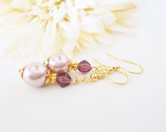 Lavender Bridesmaids Earrings, Light Purple Wedding Earrings, Czech Glass Earrings, Prom Earrings, Lilac Bridal Pearl Jewelry, Nickel Free