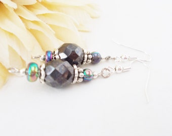 Hematite Earrings, Dark Gray Earrings, Czech Glass Earrings, Beaded Earrings, Bridal Earrings, Wedding Jewelry, Mother of Bride, Clip On