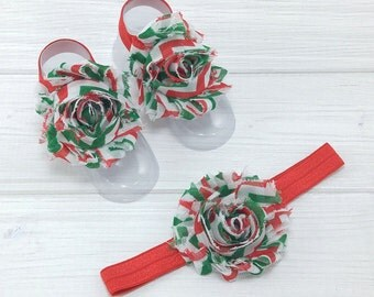 Christmas Barefoot Sandals - Barefoot Baby Sandals - Baby Barefoot Sandals - Baby Accessories - Baby Shoes - Fall Toe Blooms