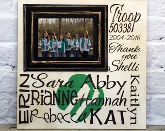 Girls Scout Gift Personalized Picture Frame, Girls Scout Troop Leader
